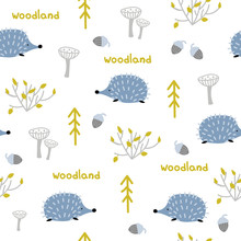 Seamless Pattern With Hedgehog...