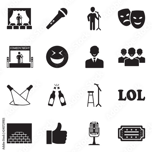 Fotografie, Obraz Stand Up Comedy Icons. Black Flat Design. Vector Illustration.