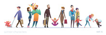 Happy People With Children. Set Of Cartoon Characters In Flat Design. Winter Shopping And Holidays. Christmas Funny Families