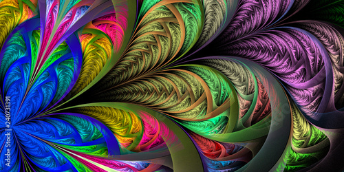 Slika na platnu Beautiful multicolored fractal flower