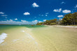 Tropical beach with trees on the east side of Bribie Island, Queensland, Australia