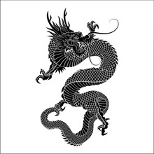 Silhouette Of Chinese Dragon Crawling