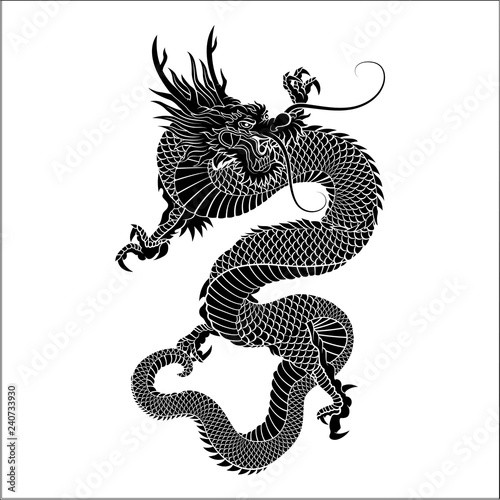 Silhouette of Chinese dragon crawling Tablou Canvas