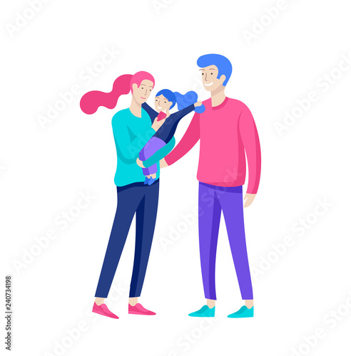 Fototapety, obrazy: Family spend time together, happy parents with children. Vector people character. Editable outline stroke size. Colorful flat concept illustration.