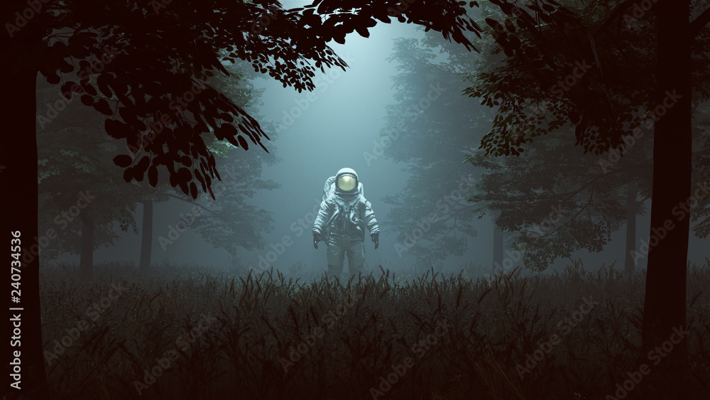 Fototapety, obrazy: Astronaut with Gold Visor Standing in a Wooded Clearing with a Beam of Light 3d illustration 3d render