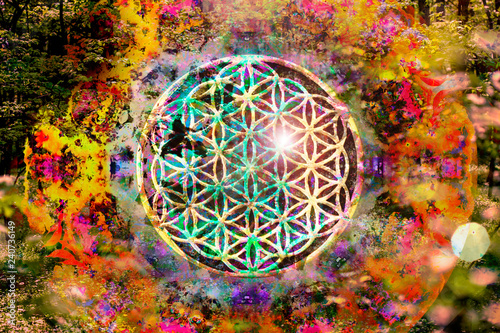 Obraz na plátně  Abstract spiritual background with sacred geometry