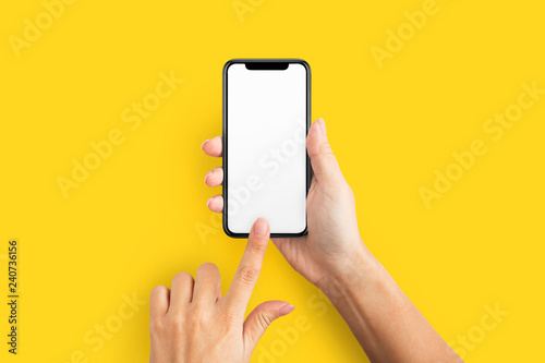 Photo  Mockup of female hand holding cell phone with blank screen
