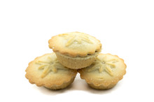 Three Home Made Christmas Pies On A White Background