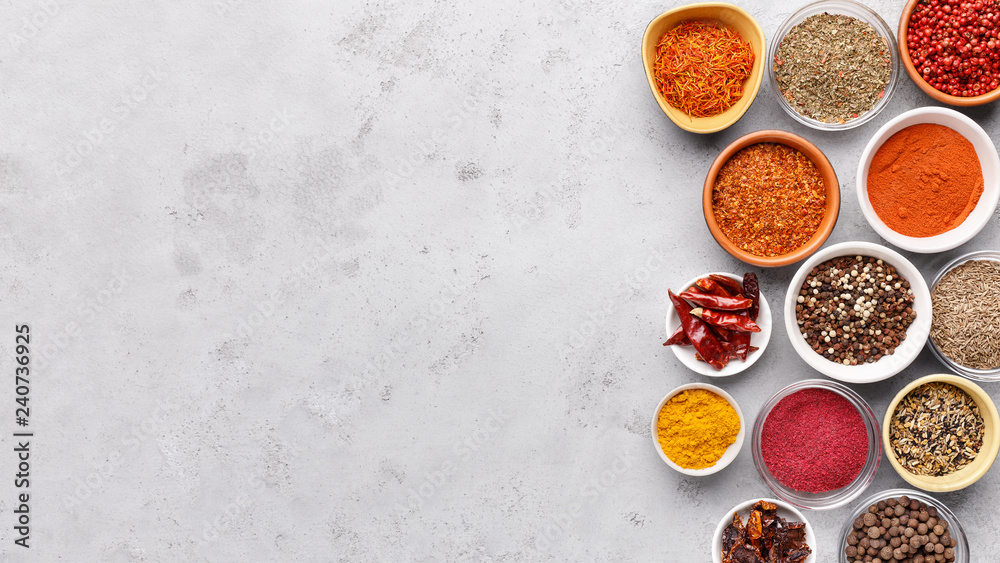 Fototapety, obrazy: Traditional Indian spices in bowls on grey background