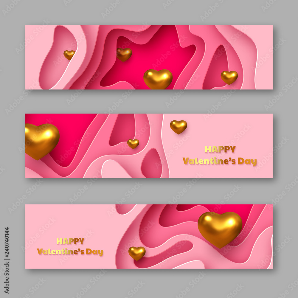 Fototapety, obrazy: Valentines day holiday horizontal stickers. Paper cut style layered pink background with metallic golden hearts and greeting text. Vector.