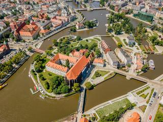 FototapetaAerial view of historic Ostrow Tumski, Wroclaw, Poland