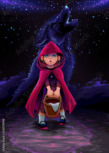 Spoed Foto op Canvas Kinderkamer The initiation of Red Riding Hood