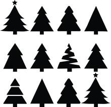 Merry Chrismas Tree Icon Set On Gray Background Vector Illustration Flat Desing