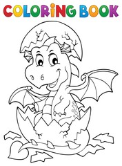 Coloring book dragon hatching from egg 1