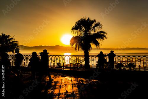fototapeta na ścianę beautiful long sea of Reggio Calabria at sunset