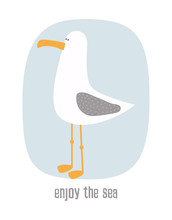 Cartoon Card With Seagull