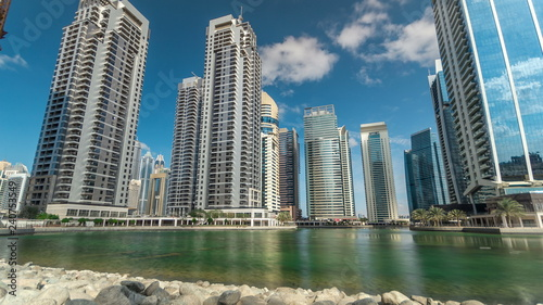 Recess Fitting Dubai Residential buildings in Jumeirah Lake Towers timelapse in Dubai, UAE.