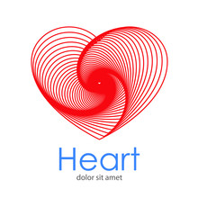 Logotipo Abstracto Con Texto Heart Con Corazones Lineales Concentricos En Espiral En Color Rojo