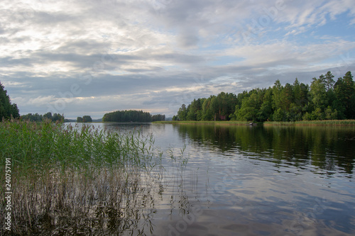 Spoed Foto op Canvas Scandinavië Landscape of Kuopio nature at cloudy day summer