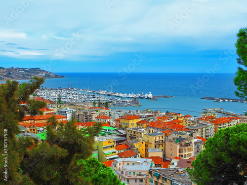 Ingelijste posters Poort view port of San Remo (San Remo) and of the city on Azure Italian Riviera, province of Imperia, Western Liguria, Italy