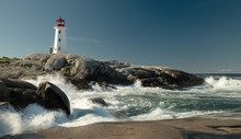 Peggys Cove Lighthouse With Wa...