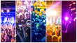 canvas print picture - Rock concert, silhouettes of happy people raising up hands. Collage. The music, party, event, festival, dance, entertainment and nightclub concept