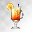 Realistic cocktail tequila sunrise glass vector illustration on transparent background