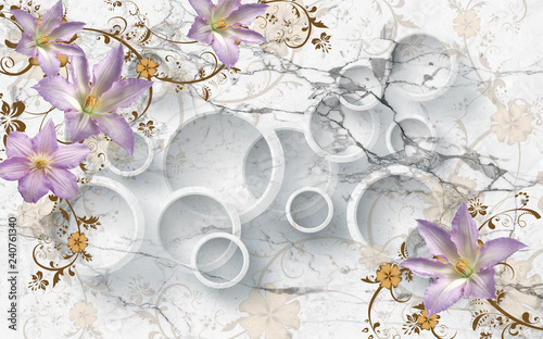 3D flowers on marble circular wallpaper, 3d rendering. - 240761340