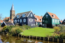 Marken, Netherlands. Traditional Colorful Wooden Houses Of The Typical Fisherman Village.