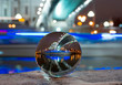 Photo of the center of Moscow through a glass ball Footage taken on the street in the center of Moscow, Russia, shooting date 24.11.2016, the photo shows the sights through the sphere.
