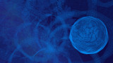 blaue Sphäre auf Spiralbahn