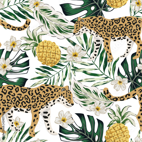 Tropical Leopard Animals Pineapple Fruit Plumeria Flowers Green Palm Leaves White Background Vector Seamless Pattern Graphic Illustration Summer Beach Floral Design Paradise Nature Wall Mural Ojardin The design includes a badge in the middle where you can add text. tropical leopard animals pineapple fruit plumeria flowers green palm leaves white background vector seamless pattern graphic illustration