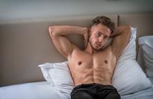 Shirtless Sexy Male Model Lyin...