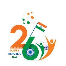 Happy Republic Day Of India Illustration Vector