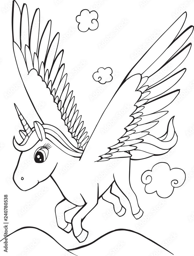 Printed Kitchen Splashbacks Cute Unicorn Pegasus Coloring