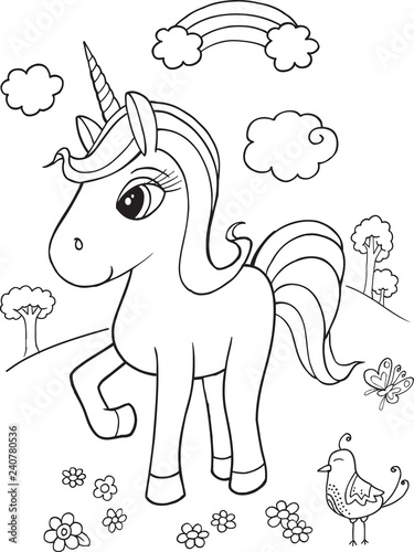 Cute Unicorn Coloring Page Vector Illustration Art