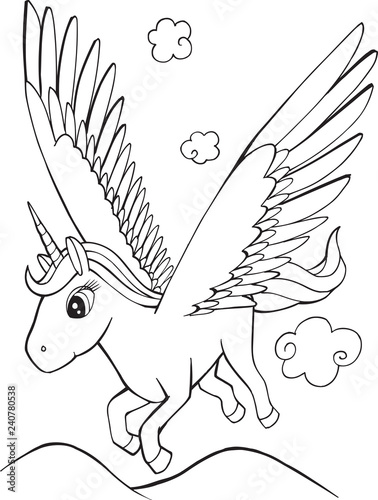 Cute Unicorn Pegasus Coloring page Vector Illustration Art