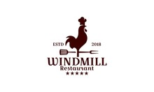 Windmill Restaurant Logo Design Template