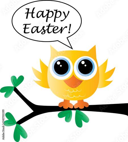 Deurstickers Uilen cartoon happy easter a sweet little yellow bird