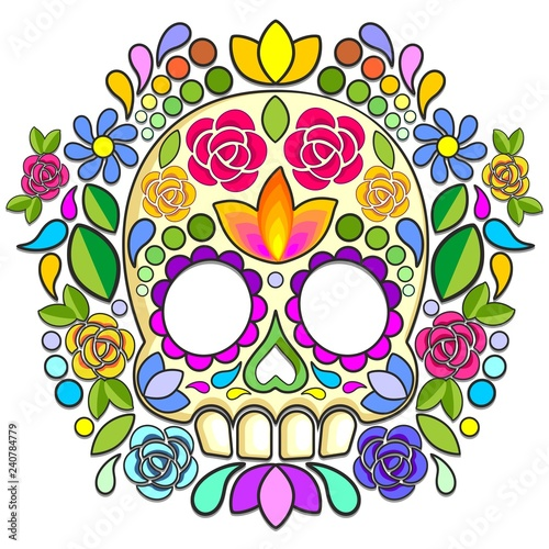 Poster Draw Sugar Skull Floral Naif Art Mexican Calaveras isolated