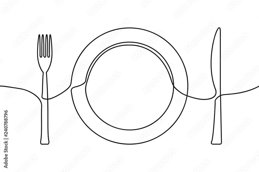 Jedna ciągła linia ilustrująca talerz, nóż i widelec. Wektor. <span>plik: #240788796 | autor: Roman</span>