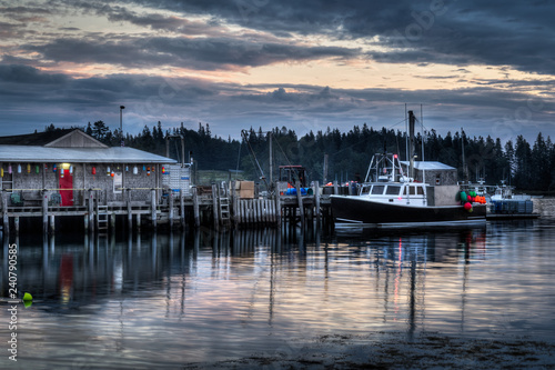 Lobster Boats Moored at Lobster Pound Preparing for Day