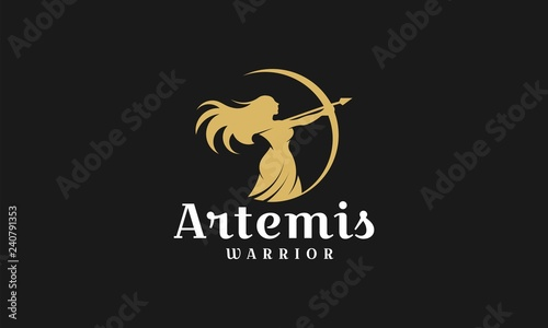Canvas Print Artemis logo design template,archery illustration logo vector