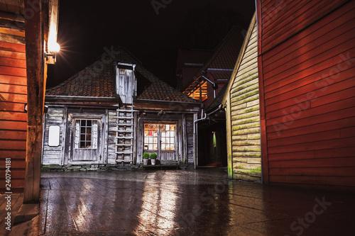 Bergen Bryggen night street view