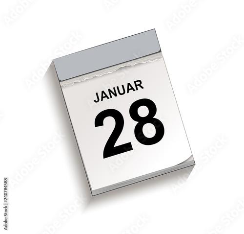 Fotografia  Kalender Januar 28, Abreißkalender mit Datum, Vektor Illustration isoliert auf w