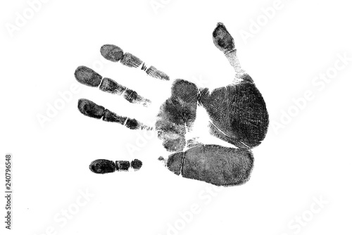 Obraz na plátně Black prints of hand on transparent paper