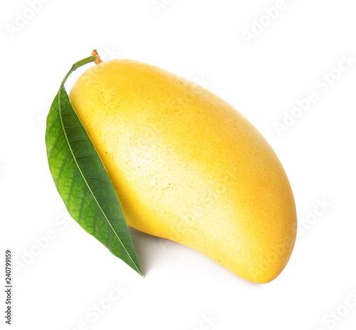 Fresh ripe mango with green leaf isolated on white