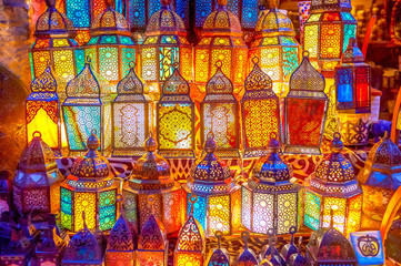 The glowing lanterns in Cairo, Egypt