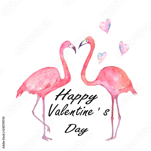 Canvas Prints Flamingo Bird Watercolor composition Happy Valentine's Day. Hand painted flamingo couple with hearts and inscriptions isolated on white background.
