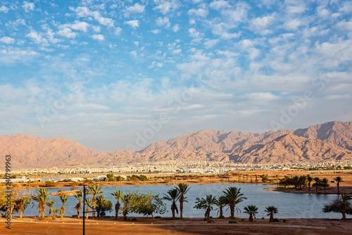 View on Jordan Aqaba city from Eilat Poster Mural XXL